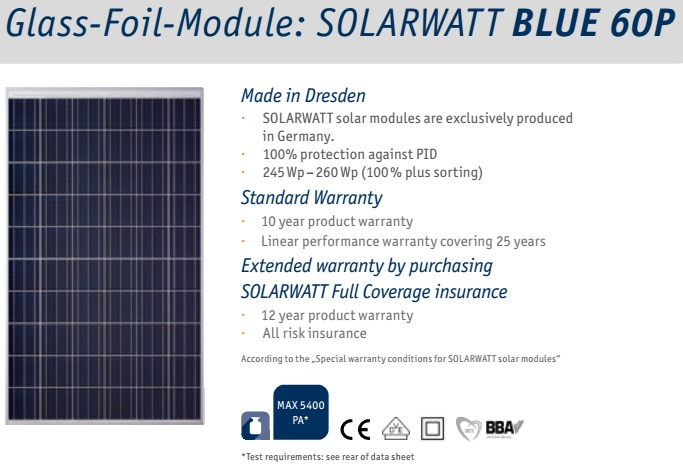 Aurinkopaneeli 255Wp SolarWatt Made in Germany